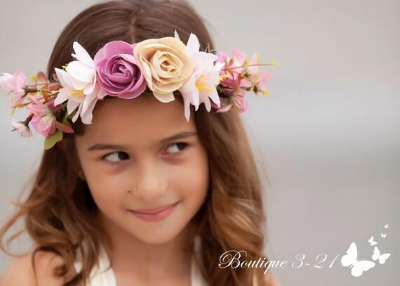 a4528da5d Child flower crown / Flower crown wreath / Bridal flower crown / Flower girl  / Flower crown wedding / Pink flower crown / Blush flower crown