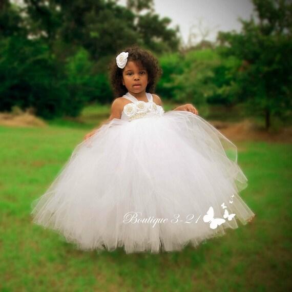 White flower girl dress white tutu dress white tulle dress etsy image 0 mightylinksfo