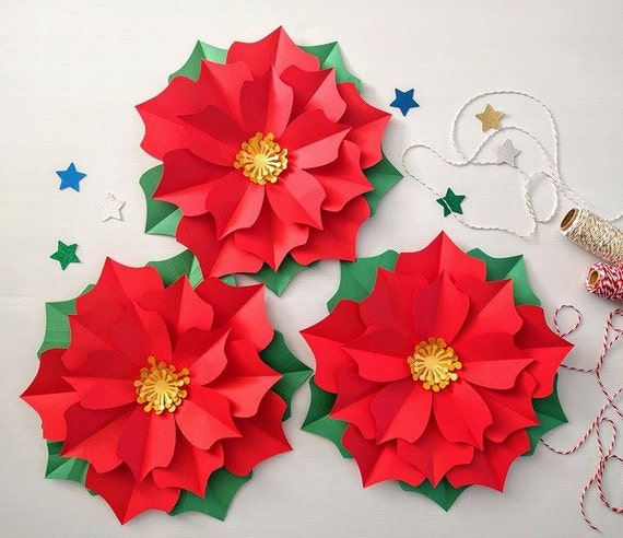 Christmas Flower Decorations.Christmas Decorations Red Poinsettia Paper Flower Chinese New Year Wall Decor Holiday Home Decor Large Paper Flower Backdrop