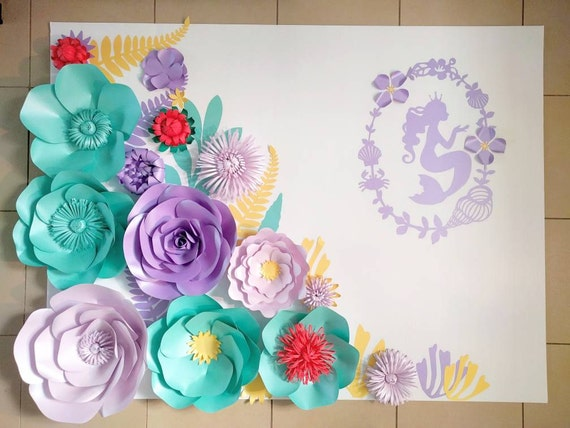 Large Paper Flowers Mermaid Party Decor Set Aqua And Purple
