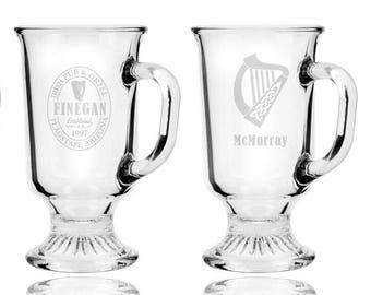 Custom Engraved Glass Irish Coffee Mug, 8.5 oz. (1 piece)