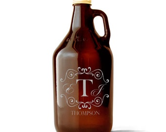 Custom Engraved Set, 1 Growler with 4 Beer Can Glasses