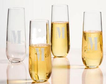 Engraved Personalized Stemless Champagne Flutes 10 oz. (set of 4)
