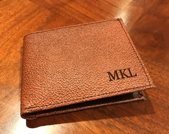 Engraved Personalized Pigskin Style Men's Leather Wallet, Genuine Leather