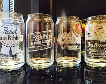 "Custom Engraved Glass Beer Can ""Retro Series"" 16 oz. (per piece)"