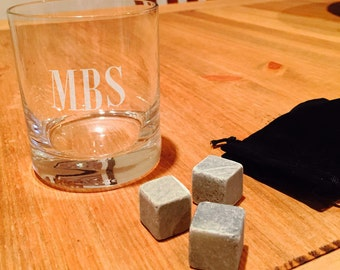 Personalized Engraved  Whiskey Rocks Glass, 11 oz.  with 3 whiskey chilling stones