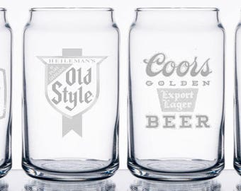 Personalized engraved mini 5 oz. beer can glasses (set of 4)