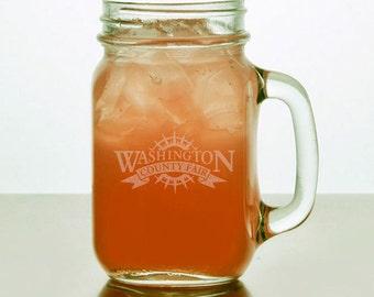 Personalized Mason Jar Pint Glasses with handle (1 glass), 16 oz.