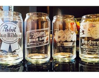 Custom 'Retro Series' Beer Can Glass (1 glass)