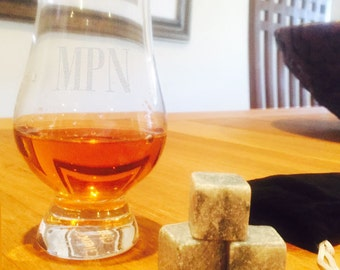 Personalized Engraved Glencairn Whiskey Glass 6 oz.  with 3 whiskey stones and black velvet pouch