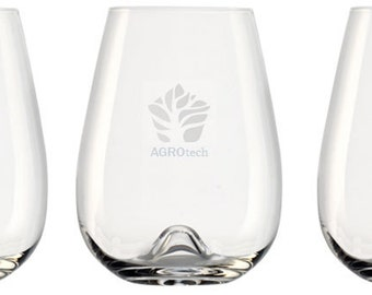 Personalized Logo Etched Stemless Red Wine Glass or Cocktail Glass, 16 oz (1 glass)