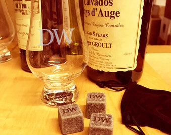 Personalized Engraved Glencairn Scotch Whisky Glass, 6 oz.  with 3 personalized whiskey stones