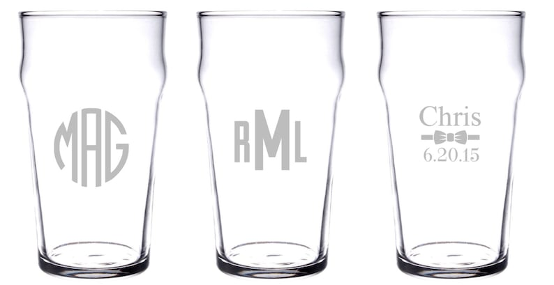 42fcafc959e Personalized or monogrammed Nonic pint English Pub glass 20