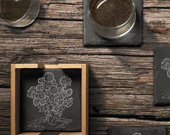 Custom Engraved Slate Coasters (set of 4) with Bamboo Holder
