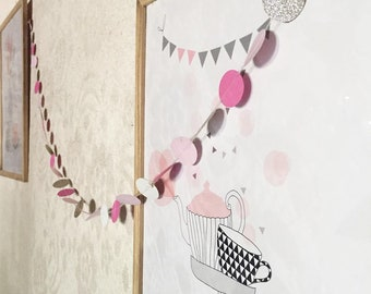 Pink and gold paper Garland