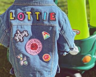 Personalised custom denim jacket kids unisex patch - multicoloured name