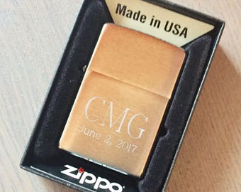 Personalized Zippo Lighter Brushed Brass Groomsmen Gift Fathers Day Birthday Anniversary Z204B