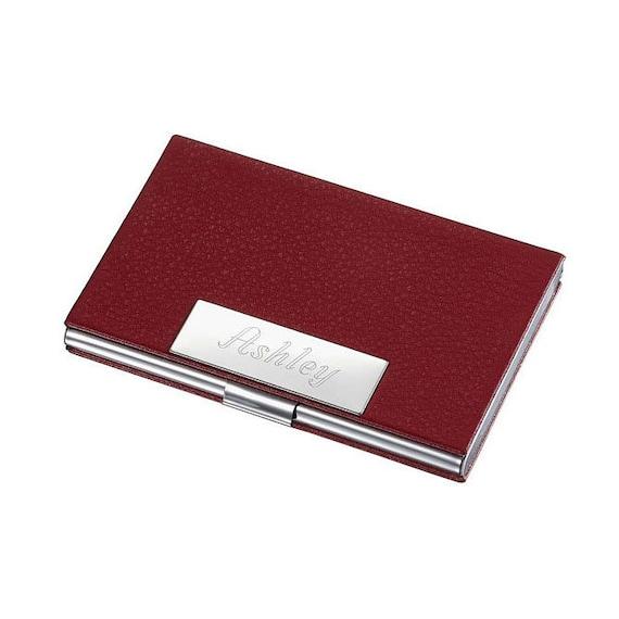 Visitenkartenhalter Personalisiert Rotes Leder Und Edelstahl Visitenkarte Fall Für Frauen Personalisiert Visitenkartenhalter Graviert V407b