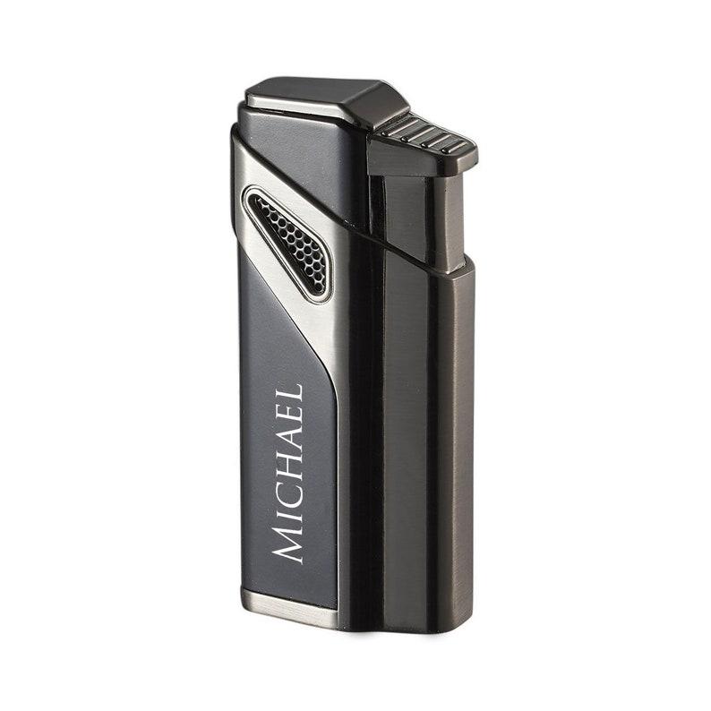 Anniversary Gift Cigar Lighter Personalized Matte Black Gunmetal Triple Torch Lighter Engraved w Cigar punch Groomsmen Gift VLR404101