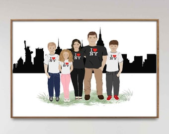 Personalized Family portrait illustration, Moving away gift with city skyline, Long distance family gift, Unique and thoughtful reunion gift