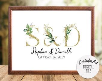 Personalized engagement gift, Initial print, Custom Monogram Sign, Name print, Greenery Wedding gift,  Anniversary gift, Couples gift Shower