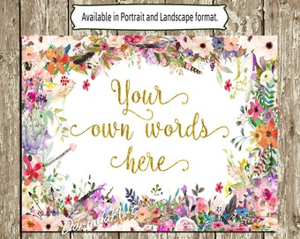 Custom Baby Shower Sign Personalized watercolor flower signs Printable Boho floral signs Bohemian Wedding Signs Bridal Shower Spring Signs