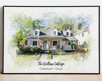 Custom Watercolor House Portrait,Watercolor House Painting,Personalized Housewarming Gift,First Home Gift,Realtor Closing Gift,Home Portrait