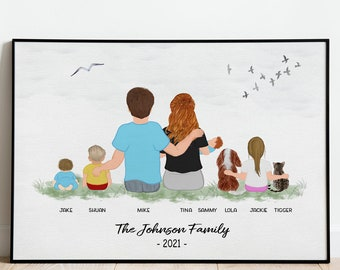 Personalized Dog Family Portrait, Dog Kids Print, Personalized Couple Dog Print, Custom Family Portrait with Pets, Pet Family Print. Gifts