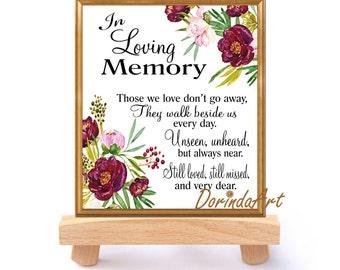 In Loving Memory Quotes | Memorial Table In Loving Memory Printable Wedding Memorial Etsy