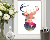 Geometric deer printable Retro Wall art print Triangle art Modern deer decor Colorful Deer poster Navy red orange Office decor Home decor