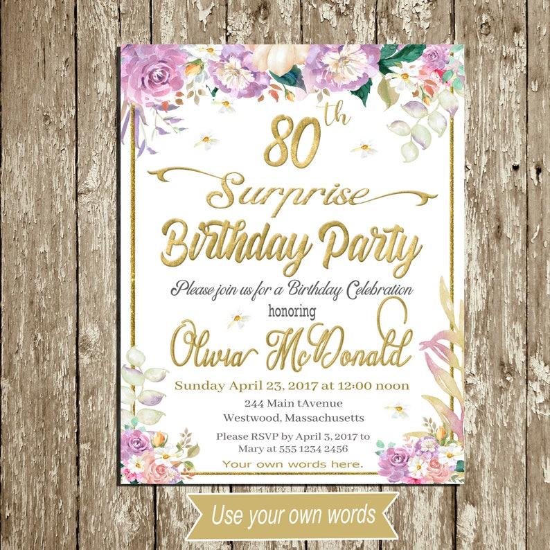 Floral Birthday Invitation Lilac Vintage