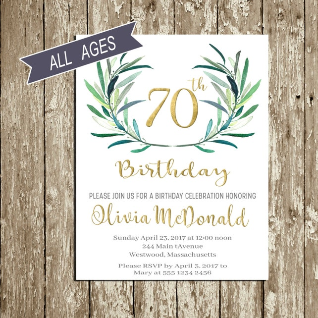 70th Birthday Invitation 80th Invitations For Woman Green And Gold 90th Men