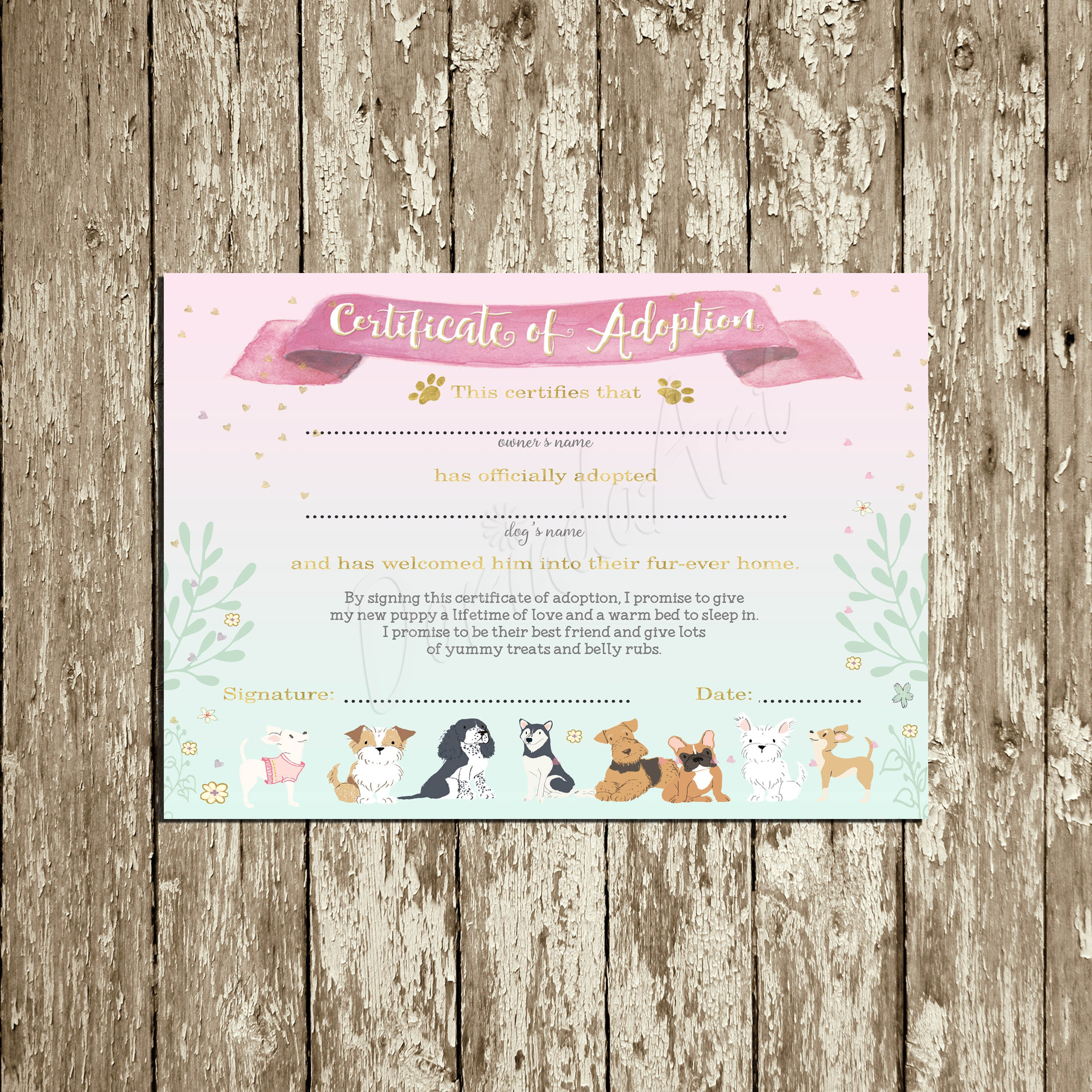 Puppy Adoption Certificate Printable Puppy Birthday Party Etsy