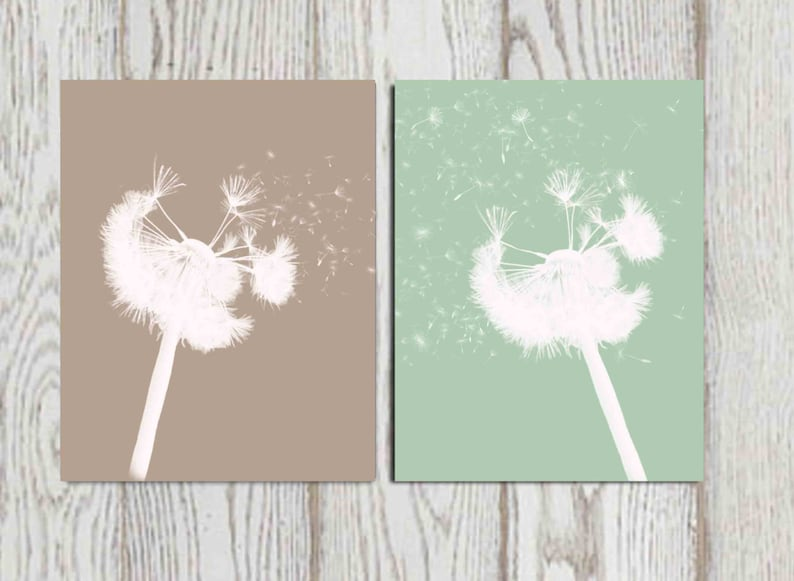 Dandelion Wall Art Print Taupe Mint Green Home Decor Bedroom Etsy