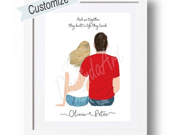 Custom couples gift Digital Couple illustration Personalized Couple anniversary gift, Birthday Gift for boyfriend or girlfriend Wedding Gift