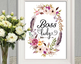 Boss Lady Printable Boss Lady Office wall art Watercolor flower wreath Womens gift idea Gift for women 5x7 8x10 11x14 16x20 INSTANT DOWNLOAD