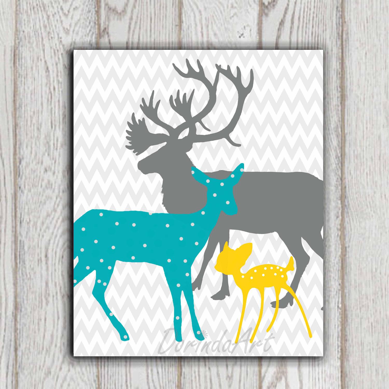 Teal Yellow Gray Boy Or Girls Bedroom Decor Print Deer