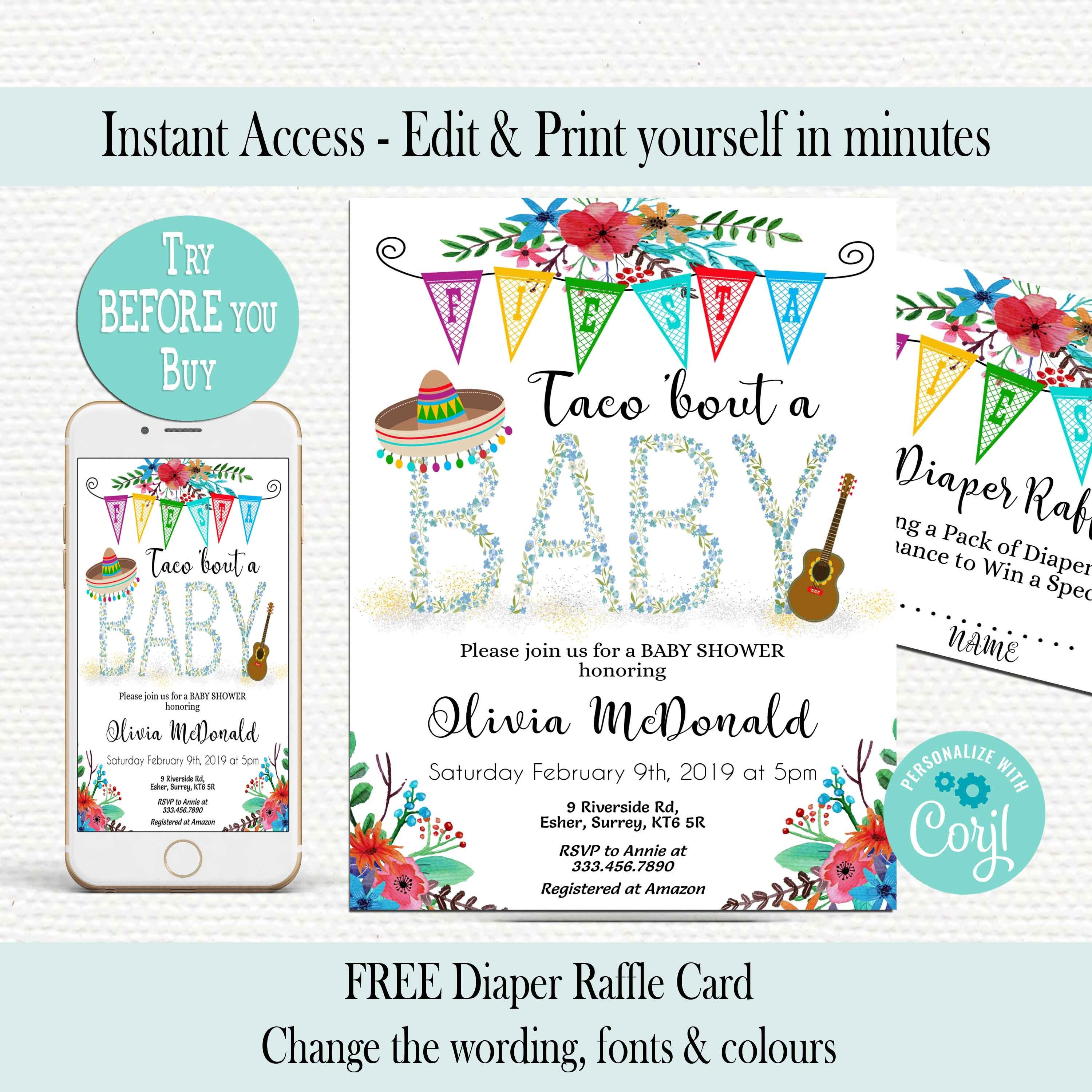 EDITABLE Taco bout baby Invitation Baby Shower Invitation Instant Download  EDITABLE TEMPLATE Fiesta Baby Shower Floral Mexican themed Corjl
