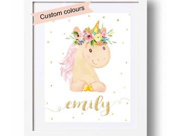 Unicorn Nursery Print, Personalized unicorn gifts, Baby girl name gift, Unicorn printable decor, Watercolor unicorn, Unicorn wall art, 103