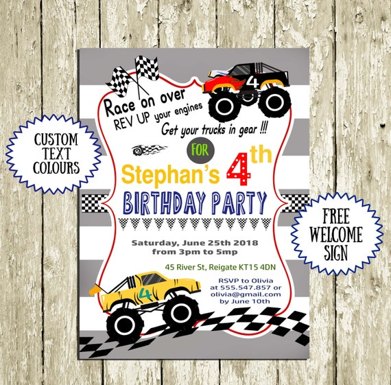 graphic about Monster Truck Birthday Invitations Free Printable referred to as Birthday Invites for Boys Printable Monster Truck Invitation Racing Car or truck 2nd birthday 3rd birthday 4th birthday 5th birthday 6th birthday