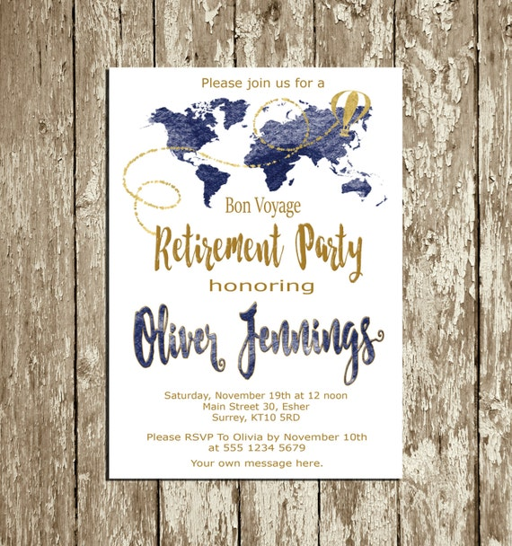 Retirement invitation for men blue navy and gold retirement etsy image 0 stopboris Image collections