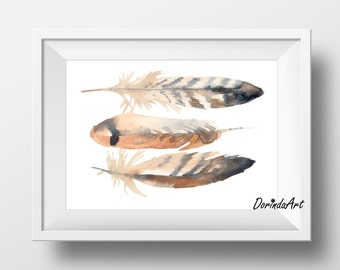 Brown feather print Watercolor Feather printable wall art Brown home decor brown and white Office wall decor 5x7 8x10 11x14 16x20 DOWNLOAD