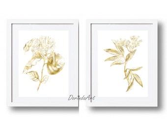 Gold flower wall art Prints Gold leaves Gold Home decor Gold foil Large Canvas art 5x7 8x10 16x20 Minimalist Set of 2 Flower printables