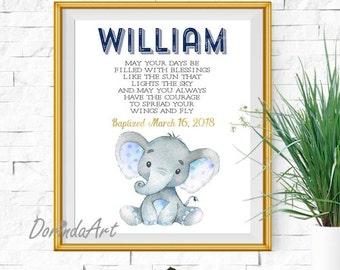 Personalized Baptism Gift Boy / Custom Baby Name / Elephant Baby wall art / Custom Christening Gifts for boys / Custom Godson Baptism Gifts