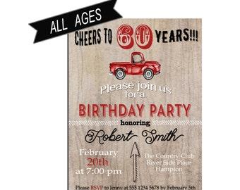 Birthday Invitation for men 60th Birthday party Invitation 70th Bithday Retro Birthday Invite for Boys Digital Birthday invitation for Teens