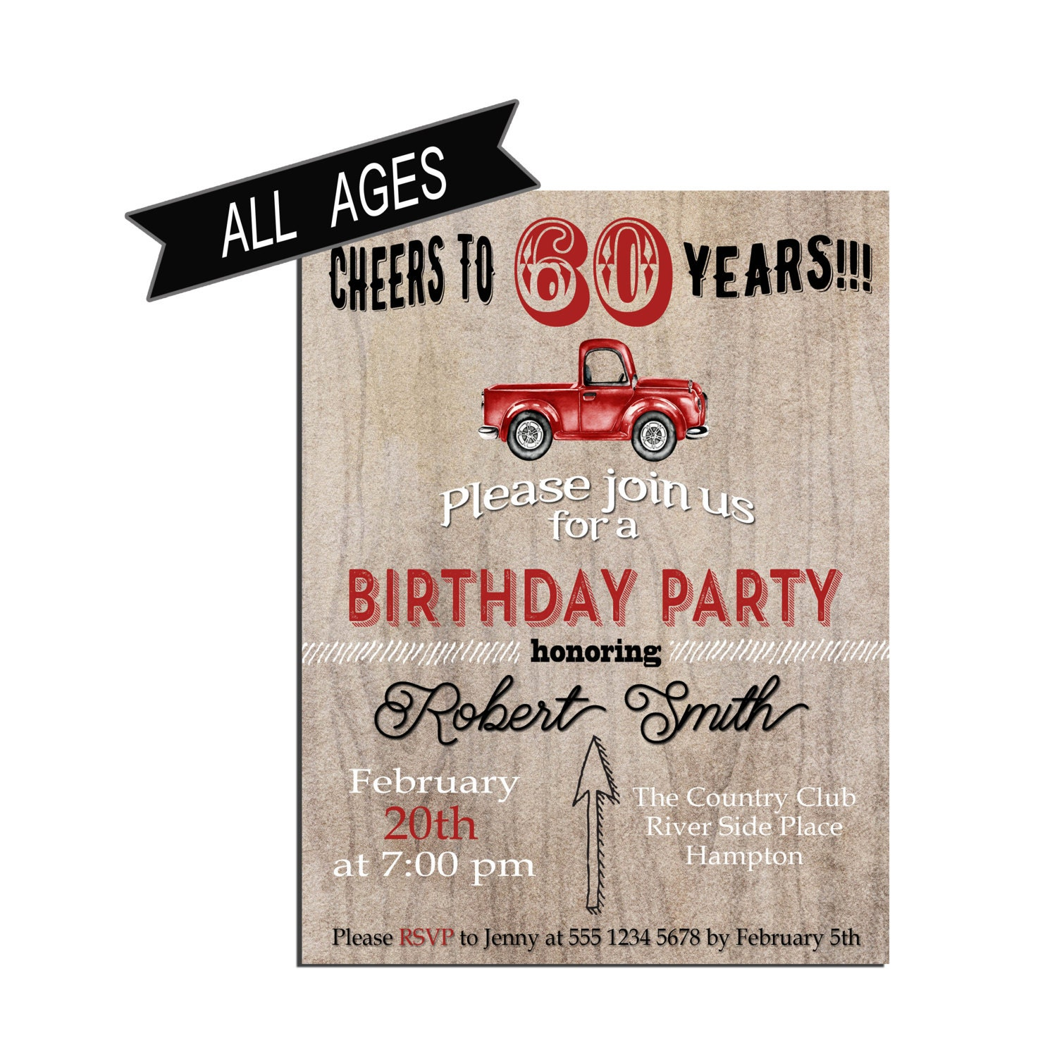 Birthday Invitation for men 60th Birthday party Invitation | Etsy
