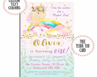 Unicorn Birthday Invitation Unicorn First Birthday Party Invitation Girl Pink and Gold Pink and Purple Download  1st 2nd 3rd 4th 5th 6th 7th