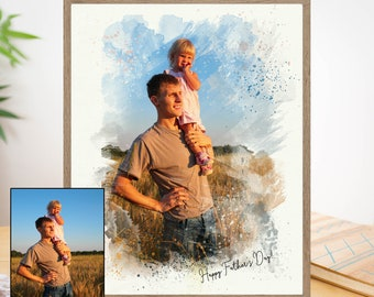 Personalized Fathers day gift from daughter or son or wife or kids, Unique Fathers day gift from photos for Step dad, Grandfather or husband