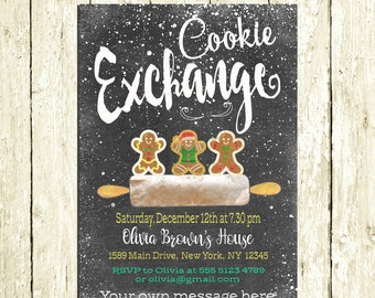 Cookie Exchange Invitations Printable Digital Chalkboard Cookie Swap Party Invite Gingerbread Man Christmas Party Invitation Birthday Party