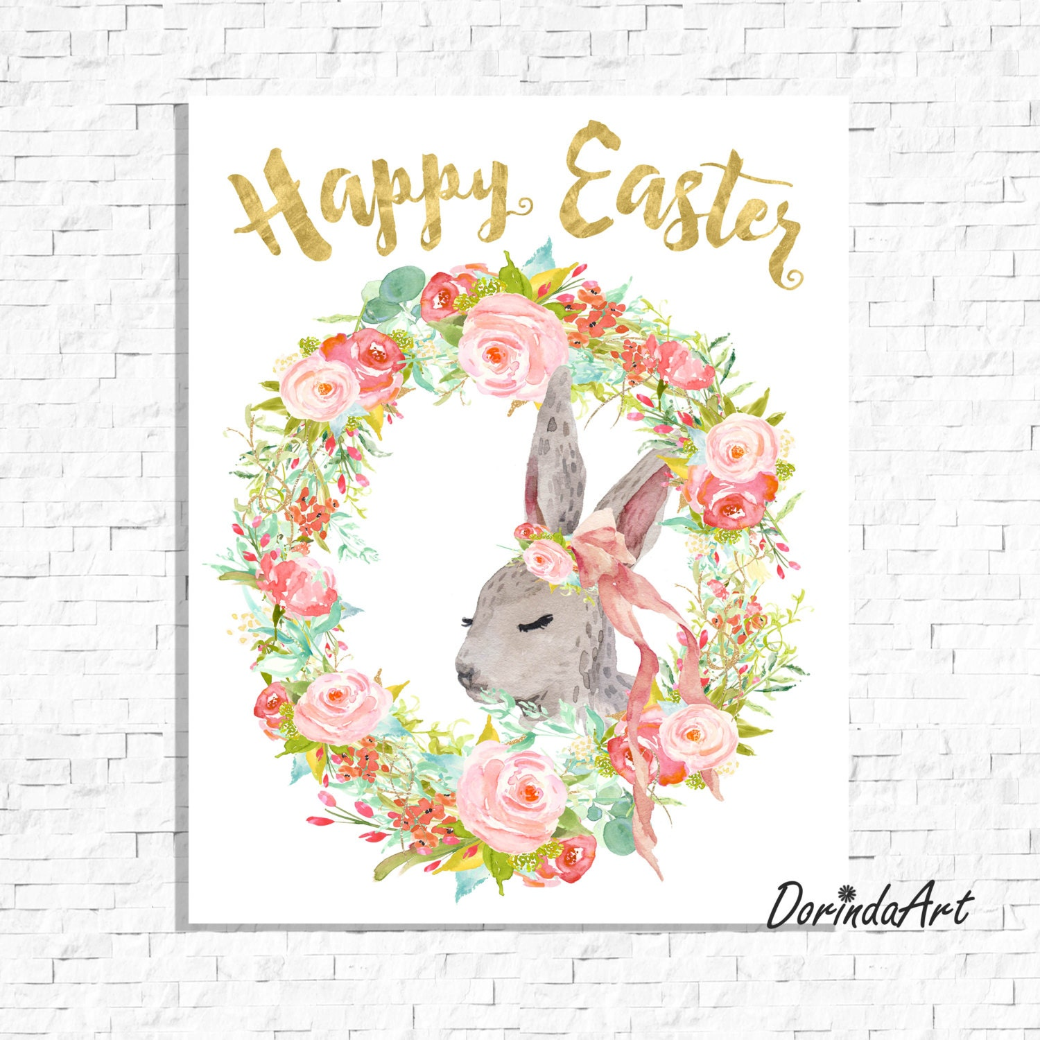 picture regarding Happy Easter Sign Printable referred to as Easter Printable Easter Bunny Print Down load Satisfied Easter Wreath Watercolor Card Satisfied Easter indication Floral Easter decor 5x7 8x10 11x14 16x20